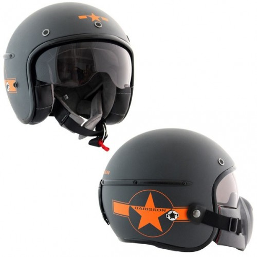 Casque Harisson Corsair Star Deco gris/orange mat