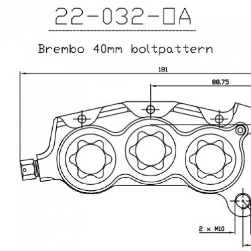 Etrier avant 6 pistons ISR entraxe fixation 40mm