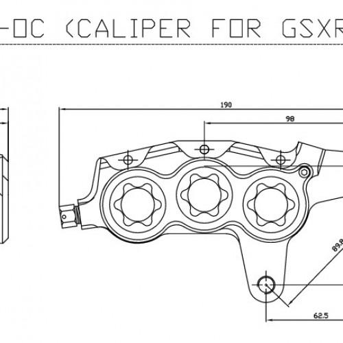 Etrier avant 6 pistons ISR entraxe fixation 89,8mm