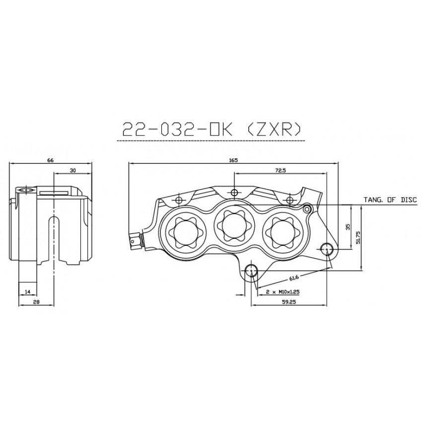 Etrier avant 6 pistons ISR entraxe fixation 61,6mm