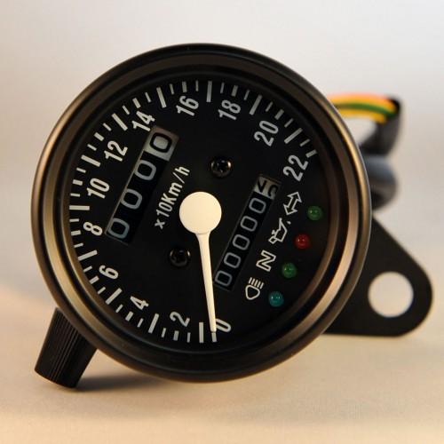 Compteur mini noir adaptable à câble avec voyants