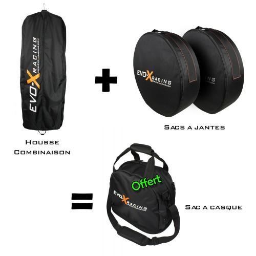 Pack Promo Evo X Racing housse combinaison + sac à jantes + sac à casque