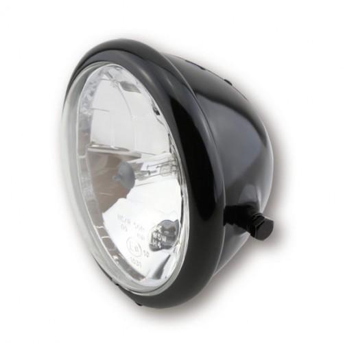 "Phare Bates 5""3/4 ShinYo Noir brillant vitre lisse fixations latérales"