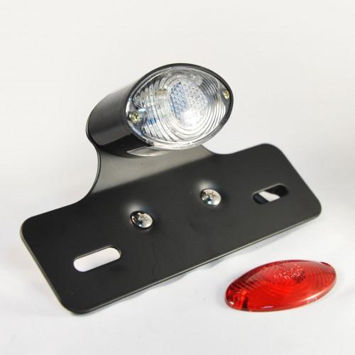 Feu à ampoule avec support de plaque Ogive blanc/rouge