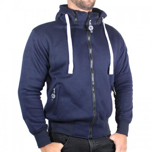 Sweater moto Harisson Patriot avec protections - Bleu